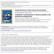مدلی برای ارتباط کیفیت حسی در زنجیره فراوری غذای دریایی