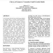 بررسی مدلهای پیش گیری از تقلب در معاملات تجارت الکترونیک