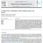 مروری بر الگوریتم ها در  مدیریت منابع انسانی: تعریف ، نظریه و عمل