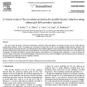 مطالعه سینتیک استخراج استرانسیوم با کاهش متالوترمیک