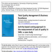 روش هزینه یابی مبتنی بر  فعالیت در اندازه گیری هزینه کیفیت در SME