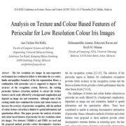 تحلیل ویژگیهای مبتنی بر رنگ و بافت پریوکولار برای تصاویر عنبیه رنگی