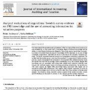 """<span itemprop=""""name"""">ارزیابی تحلیلگران  از خرید: شواهد نظرسنجی در سوئد در خصوص دانش IFRS</span>"""