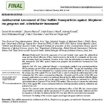 بررسی اثرات ضد باکتریایی نانوذرات سولفید روی در برابر استرپتوکوکوس پیوژنز