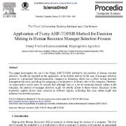 کاربرد AHP-TOPSIS فازی برای فرآیند انتخاب مدیر منابع انسانی