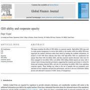 توانایی مدیر اجرایی شرکت و عدم شفافیت شرکت