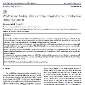 کروناویروس(COVID-19) و اضطراب: ارزیابی اثرات روان شناختی بیماری های مسری