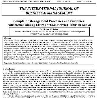 فرایندهای مدیریت شکایت و رضایت مشتری در بین مشتریان بانک های تجاری در کنیا