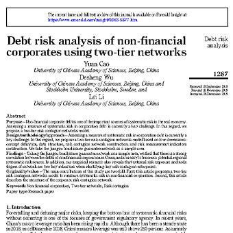 تجزیه و تحلیل ریسک بدهی شرکت های غیر مالی با استفاده از شبکه های دو لایه ای