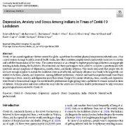 افسردگی، اضطراب و استرس در بین هندیان در زمان قرنطینه ۱۹ کوید (کرونا)
