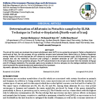 تعیین افلاتوکسین در نمونههای پسته با روش ELISA در تربت حیدریه (شمال شرق ایران)