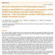 دیابت و COVID-19: اثرات و پیامد های روانی اجتماعی همه گیری COVID-19 در افراد دیابتی در دانمارک