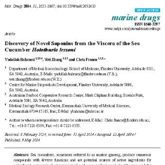 اکتشاف ساپونین های جدید از اندام های داخلی خیار دریایی(Holothuria lesson)