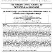 تأثیر مدیریت سرمایه در گردش بر عملکرد شرکتهای تولیدی ذکر شده در کنیا