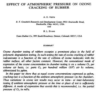 تأثیر فشار اتمسفر بر روی ترک خوردگی لاستیک در اثر اوزون