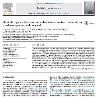 اثر روشهای استقرار گیاه و تیمارهای کنترل علف هرز بر مدیریت علف هرز و عملکرد برنج