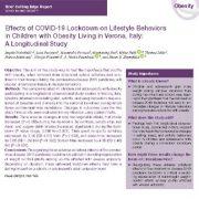 اثرات  قرنطینه سازی COVID-19 بر رفتارهای شیوه زندگی کودکان مبتلا به چاقی در ورونا ، ایتالیا