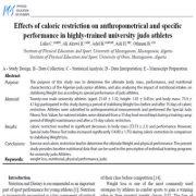 اثرات محدود سازی کالری بر روی عملکرد ویژه و آنتروپومتریک در ورزشکاران جودو