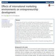 تأثیر محیطهای بازاریابی بین المللی روی توسعهی کارآفرینی