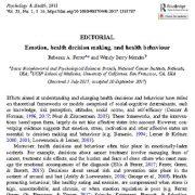 احساس و هیجان،  تصمیم گیری مربوط به سلامت و رفتار  سلامت