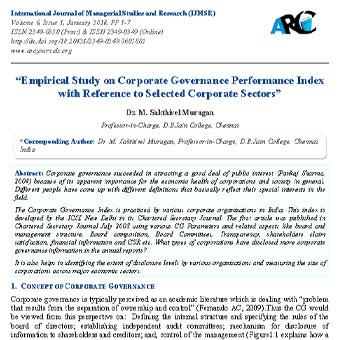 مطالعه تجربی شاخص عملکرد حاکمیت شرکتی با استناد به بخشهای منتخب شرکتی