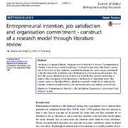 قصد کارآفرینی، رضایت شغلی و تعهد سازمانی: ساخت مدل تحقیق از طریق مرور منابع