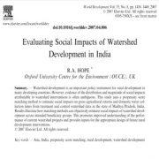 ارزیابی اثرات اجتماعی توسعه آبخیز در هند