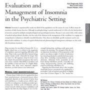 مدیریت بیخوابی در شرایط روانپزشکی