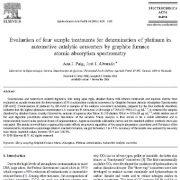 ارزیابی چهار تیمار نمونه برای تعیین پلاتینوم در مبدلهای کاتالیستی خودرو