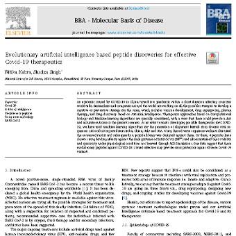 کشف پپتید مبتنی بر هوش مصنوعی تکاملی برای  درمان و داروی موثر کوید-۱۹