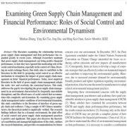 مدیریت زنجیره تأمین سبز و عملکرد مالی: پویایی زیست محیطی