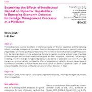 بررسی اثر سرمایه فکری بر روی قابلیتهای پویا در شرایط