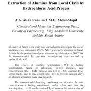 استخراج آلومینا (اکسید آلومینیوم) از رس های محلی با فرایند اسید هیدروکلریک