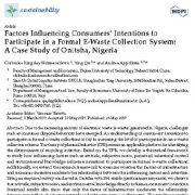 عوامل مؤثر بر نگرش و آگاهی مصرف کنندهها برای مشارکت در سیستم جمع اوری پسماندهای الکترونیک