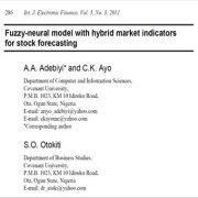 مدل فازی عصبی با شاخص های بازاری ترکیبی به منظور پیش بینی سهام