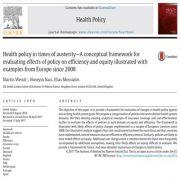 خط مشی بهداشت و سلامت در دوران سختی: الگویی برای تاثیر خط مشی