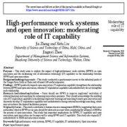 سیستم های کاری با عملکرد بالا و نوآوری باز: نقش تعدیل کننده قابلیت فناوری اطلاعات