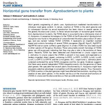 انتقال ژن افقی از آگروباکتریوم به گیاهان