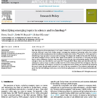 مروری بر شناسایی موضوعات نوظهور در علم و تکنولوژی