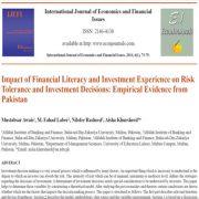 تأثیر سواد مالی و تجربه سرمایه گذاری بر تحمل ریسک و تصمیمات سرمایه گذاری