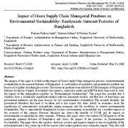 """<span itemprop=""""name"""">تأثیر شیوه های مدیریتی زنجیره تأمین سبز بر پایداری محیط زیست: کارخانه های تولید پوشاک آماده بنگلادش</span>"""