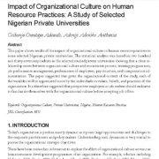 تأثیر فرهنگ سازمانی بر روی عملیات منابع انسانی