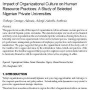 تأثیر فرهنگ سازمانی بر روی عملیات منابع انسانی: مطالعهای بر روی دانشگاههای خصوصی نیجریه