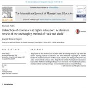 """آموزش اقتصاد در آموزش عالی: مرور منابع روش بی وقفه """" گچ گویه"""""""