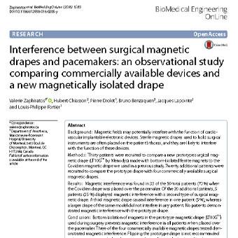 بررسی تداخل بین پردههای مغناطیسی جراحی و پیس میکر ها یا ضربان ساز ها