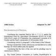 قضاوت شماره ۲۸۶۷ دیوان اداری سازمان بین المللی کار