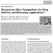 بررسی کاربرد ذرات نانوی سیلیس مزوپور در تحویل دارو و حسگری زیستی