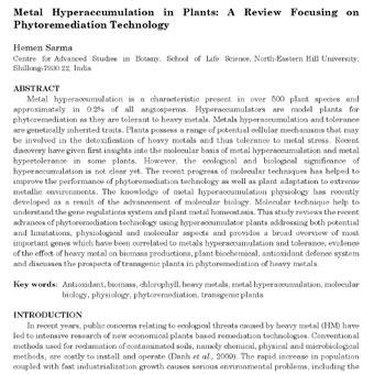 بیش اندوزی(انباشت) فلز  در گیاهان: مقاله مروری در مورد فناوری گیاه پالایی