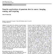 کاربرد های نانو بیو ریز بلور های کوانتوم در سرطان: تصویر برداری و سنجش و هدف یابی