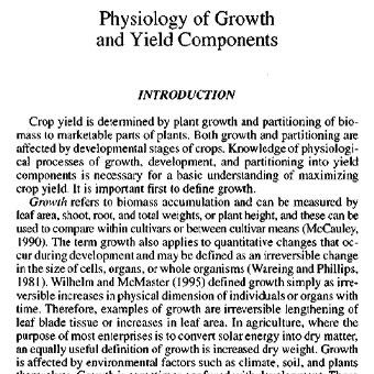 فیزیولوژی اجزای رشد و عملکرد
